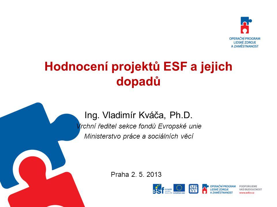 Hodnocení projektů ESF a jejich dopadů Ing.Vladimír Kváča, Ph.D.