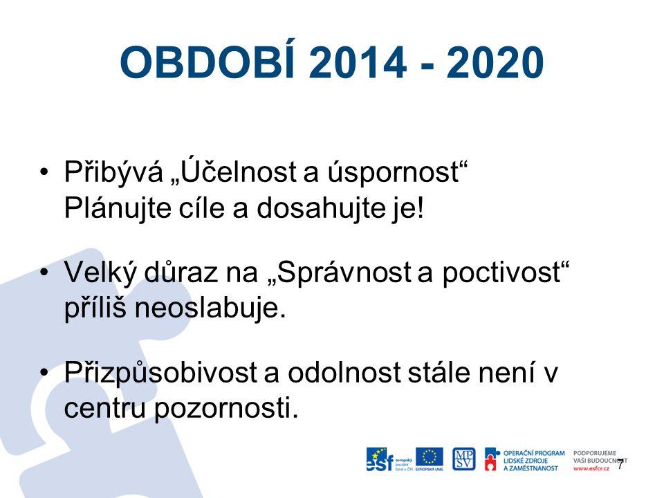 """OBDOBÍ 2014 - 2020 Přibývá """"Účelnost a úspornost Plánujte cíle a dosahujte je."""