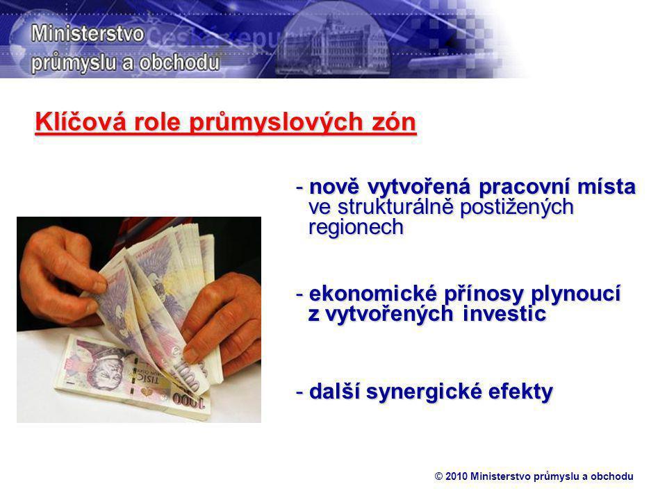 © 2010 Ministerstvo průmyslu a obchodu Klíčová role průmyslových zón - nově vytvořená pracovní místa ve strukturálně postižených regionech - ekonomické přínosy plynoucí z vytvořených investic - další synergické efekty