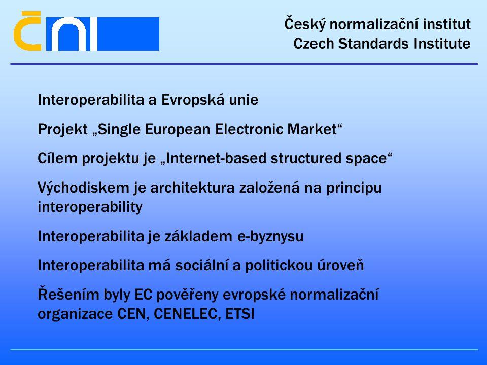 """Český normalizační institut Czech Standards Institute Interoperabilita a Evropská unie Projekt """"Single European Electronic Market Cílem projektu je """"Internet-based structured space Východiskem je architektura založená na principu interoperability Interoperabilita je základem e-byznysu Interoperabilita má sociální a politickou úroveň Řešením byly EC pověřeny evropské normalizační organizace CEN, CENELEC, ETSI"""