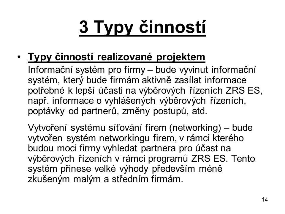 14 3 Typy činností Typy činností realizované projektem Informační systém pro firmy – bude vyvinut informační systém, který bude firmám aktivně zasílat informace potřebné k lepší účasti na výběrových řízeních ZRS ES, např.