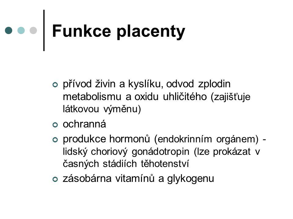 Funkce placenty přívod živin a kyslíku, odvod zplodin metabolismu a oxidu uhličitého ( zajišťuje látkovou výměnu) ochranná produkce hormonů ( endokrin