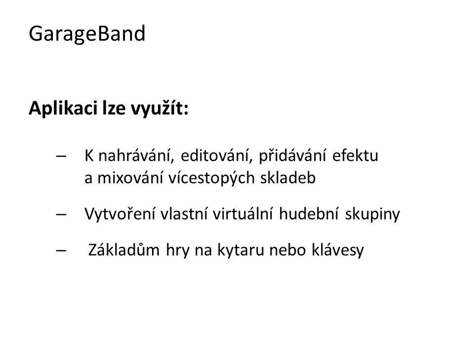 """GarageBand lze rozdělit na 3 základní části: 1)Smyčky – předpřipravené hudební část, s jejich pomocí si lze skládáním skladbu sestavit 2)MIDI – žádný zvuk nenahrává, zaznamenává se zde pouze informace """"nota zapnuta – nota vypnuta , zvuk je vytvořen až počítačem 3)Audio – zvuk s hlasovým projevem GarageBand"""