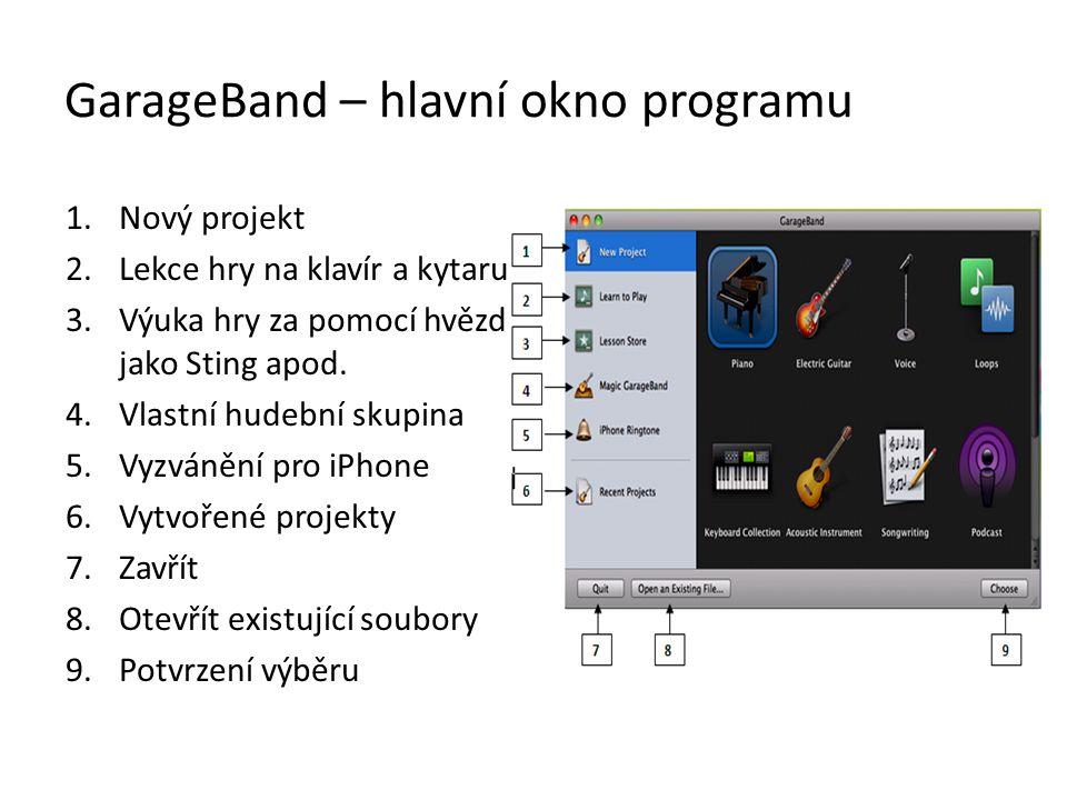 Opakovaní přehrávání – žlutý režim Opakované přehrávání můžeme využít například k nastavení hlasitosti jednotlivých nástrojů Spuštění – tlačítko s točícími se šipkami GarageBand