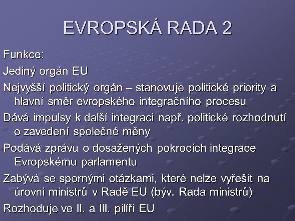 EVROPSKÁ RADA 2 Funkce: Jediný orgán EU Nejvyšší politický orgán – stanovuje politické priority a hlavní směr evropského integračního procesu Dává impulsy k další integraci např.