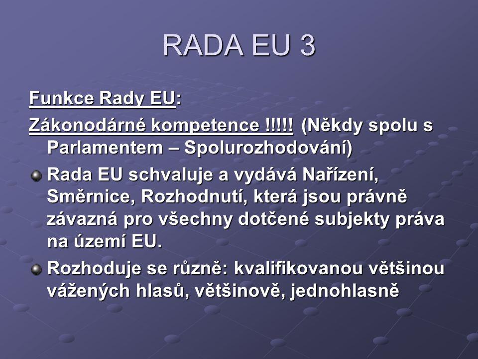RADA EU 3 Funkce Rady EU: Zákonodárné kompetence !!!!! (Někdy spolu s Parlamentem – Spolurozhodování) Rada EU schvaluje a vydává Nařízení, Směrnice, R