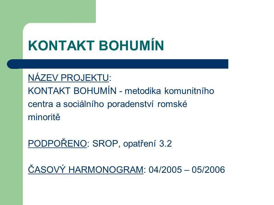 KONTAKT BOHUMÍN NÁZEV PROJEKTU: KONTAKT BOHUMÍN - metodika komunitního centra a sociálního poradenství romské minoritě PODPOŘENO: SROP, opatření 3.2 Č