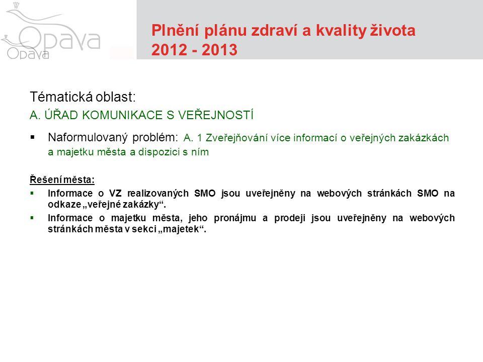 Plnění plánu zdraví a kvality života 2012 - 2013 Tématická oblast: A.