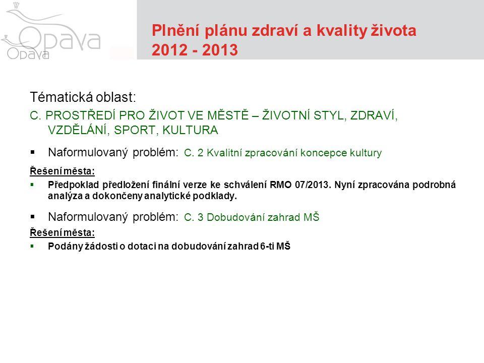 Plnění plánu zdraví a kvality života 2012 - 2013 Tématická oblast: C.