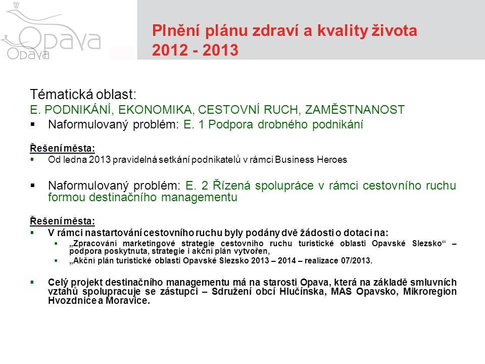 Plnění plánu zdraví a kvality života 2012 - 2013 Tématická oblast: E.