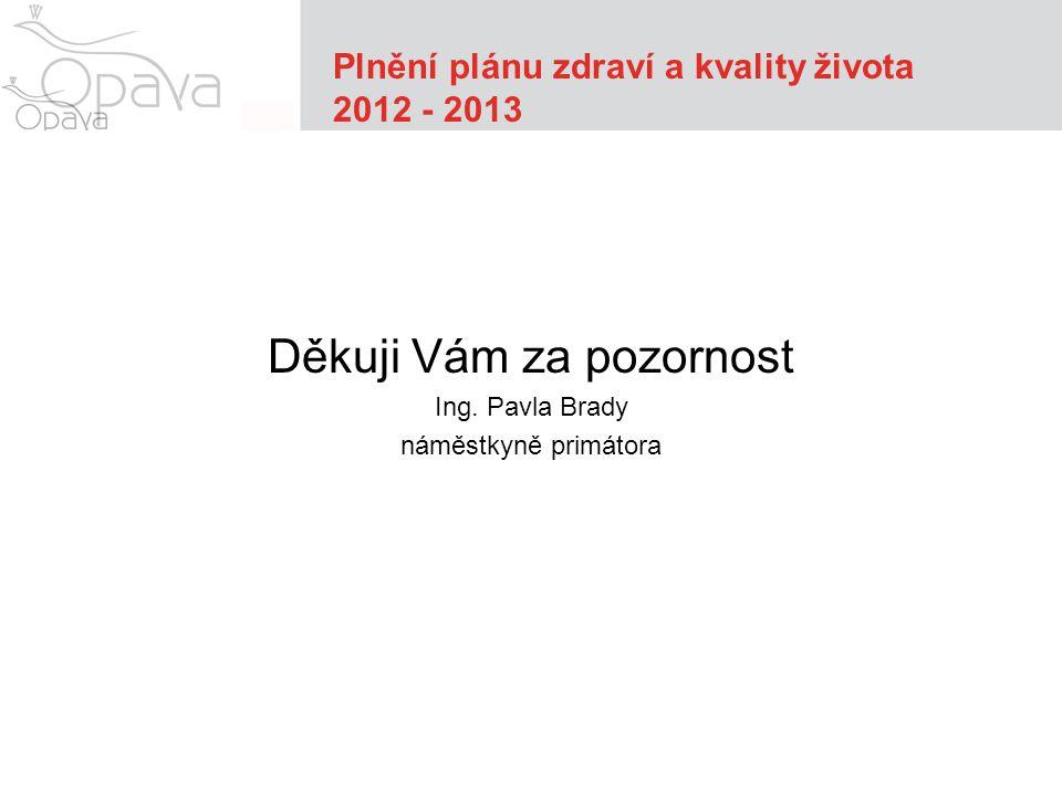 Plnění plánu zdraví a kvality života 2012 - 2013 Děkuji Vám za pozornost Ing.