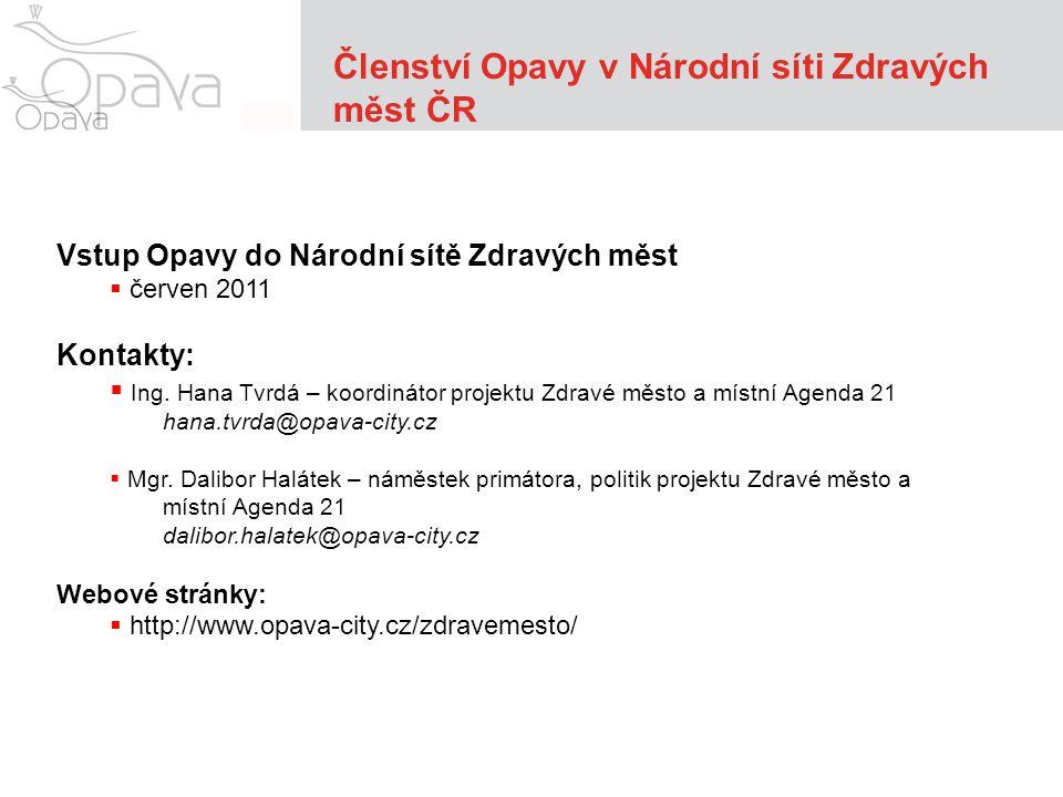 Vstup Opavy do Národní sítě Zdravých měst  červen 2011 Kontakty:  Ing.