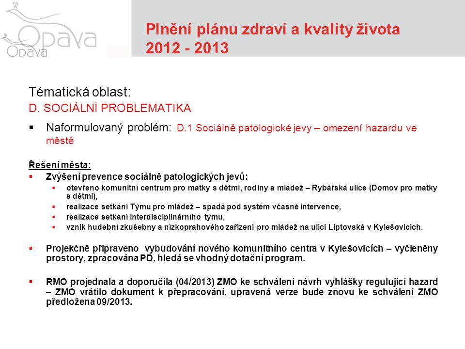 Plnění plánu zdraví a kvality života 2012 - 2013 Tématická oblast: D.