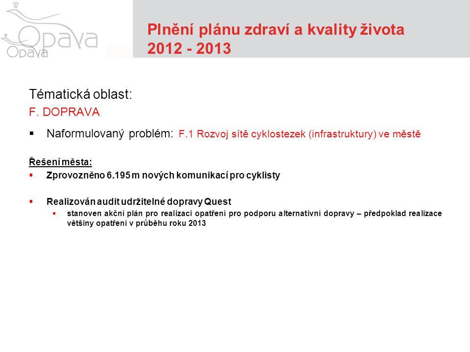 Plnění plánu zdraví a kvality života 2012 - 2013 Tématická oblast: F.