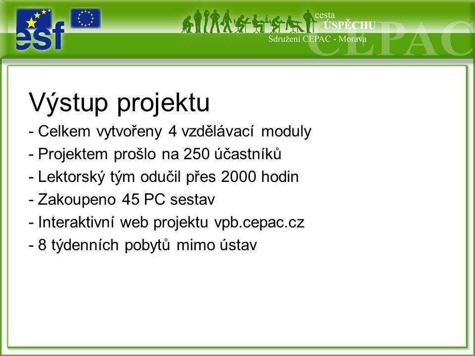Výstup projektu - Celkem vytvořeny 4 vzdělávací moduly - Projektem prošlo na 250 účastníků - Lektorský tým odučil přes 2000 hodin - Zakoupeno 45 PC sestav - Interaktivní web projektu vpb.cepac.cz - 8 týdenních pobytů mimo ústav