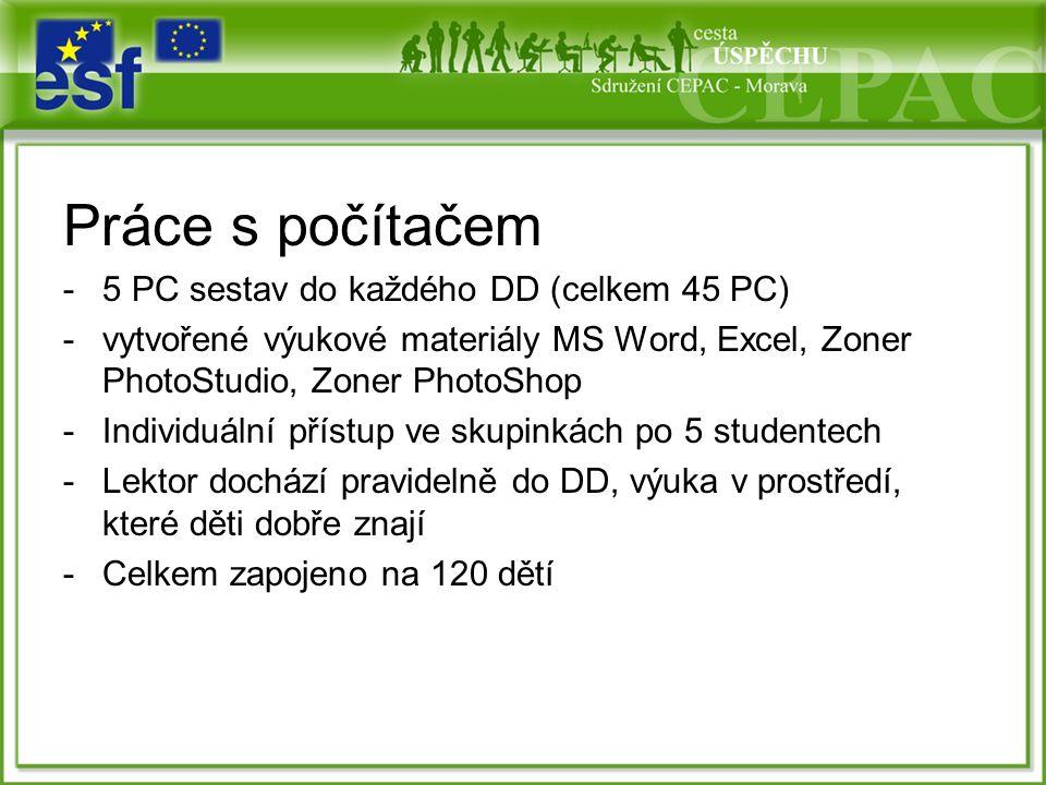 Práce s počítačem -5 PC sestav do každého DD (celkem 45 PC) -vytvořené výukové materiály MS Word, Excel, Zoner PhotoStudio, Zoner PhotoShop -Individuální přístup ve skupinkách po 5 studentech -Lektor dochází pravidelně do DD, výuka v prostředí, které děti dobře znají -Celkem zapojeno na 120 dětí