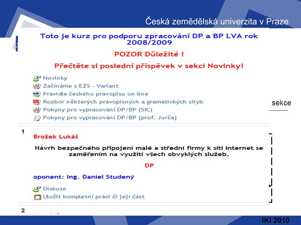 IKI 2010 Společná sekce Konkrétní sekce