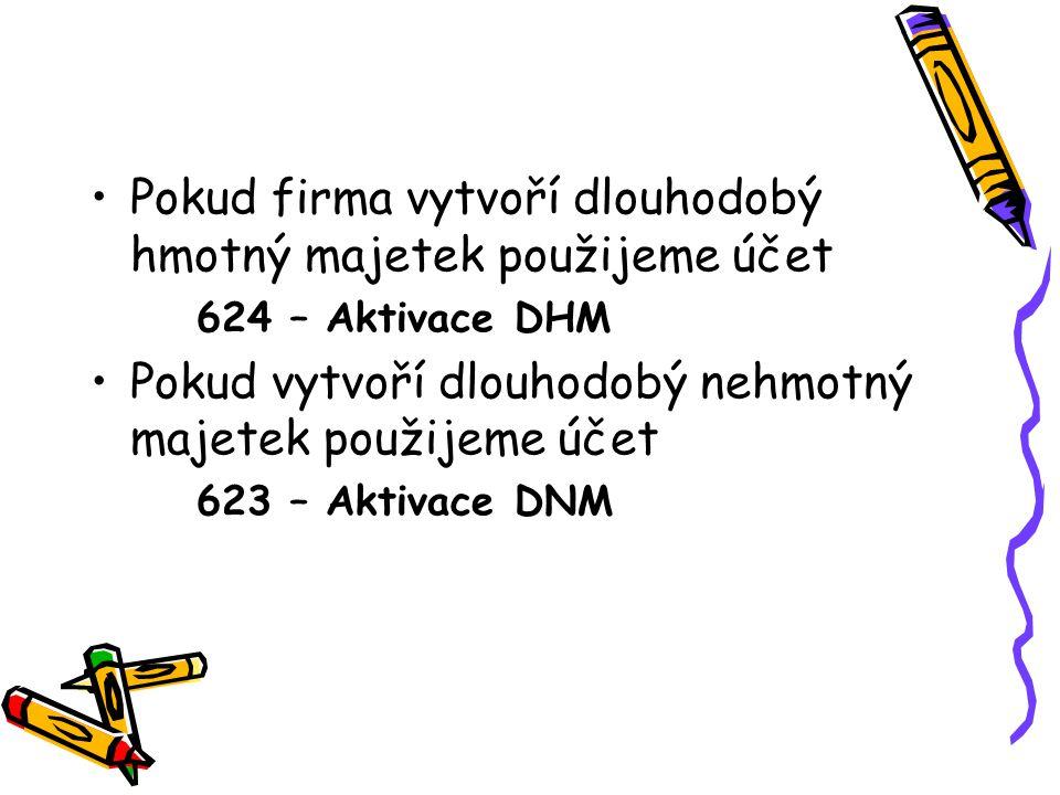 Pokud firma vytvoří dlouhodobý hmotný majetek použijeme účet 624 – Aktivace DHM Pokud vytvoří dlouhodobý nehmotný majetek použijeme účet 623 – Aktivace DNM