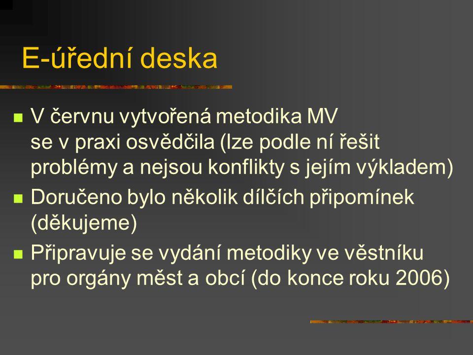 E-úřední deska V červnu vytvořená metodika MV se v praxi osvědčila (lze podle ní řešit problémy a nejsou konflikty s jejím výkladem) Doručeno bylo několik dílčích připomínek (děkujeme) Připravuje se vydání metodiky ve věstníku pro orgány měst a obcí (do konce roku 2006)