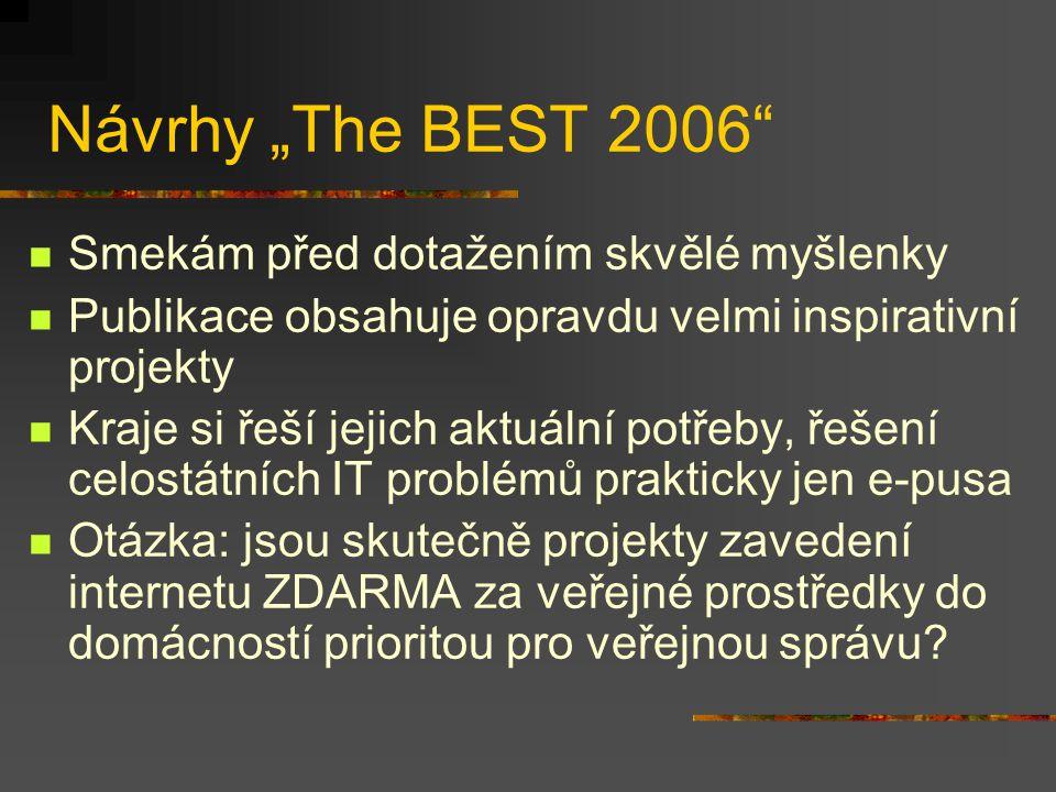 """Návrhy """"The BEST 2006 Smekám před dotažením skvělé myšlenky Publikace obsahuje opravdu velmi inspirativní projekty Kraje si řeší jejich aktuální potřeby, řešení celostátních IT problémů prakticky jen e-pusa Otázka: jsou skutečně projekty zavedení internetu ZDARMA za veřejné prostředky do domácností prioritou pro veřejnou správu?"""
