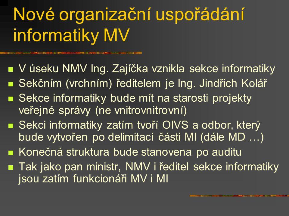 Nové organizační uspořádání informatiky MV V úseku NMV Ing.