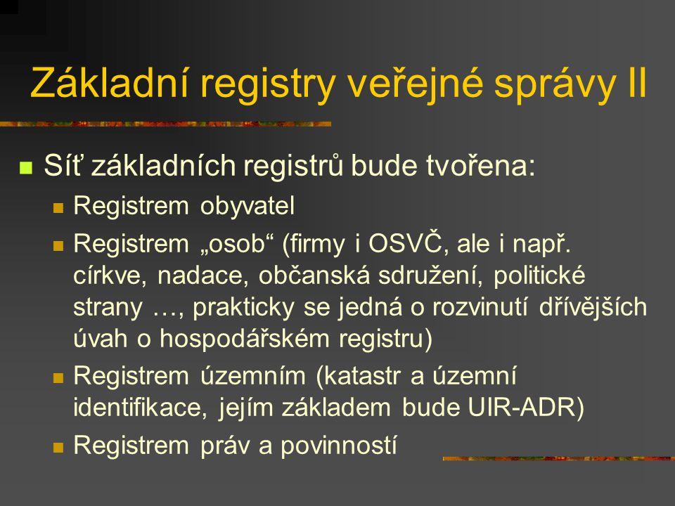 """Základní registry veřejné správy II Síť základních registrů bude tvořena: Registrem obyvatel Registrem """"osob (firmy i OSVČ, ale i např."""