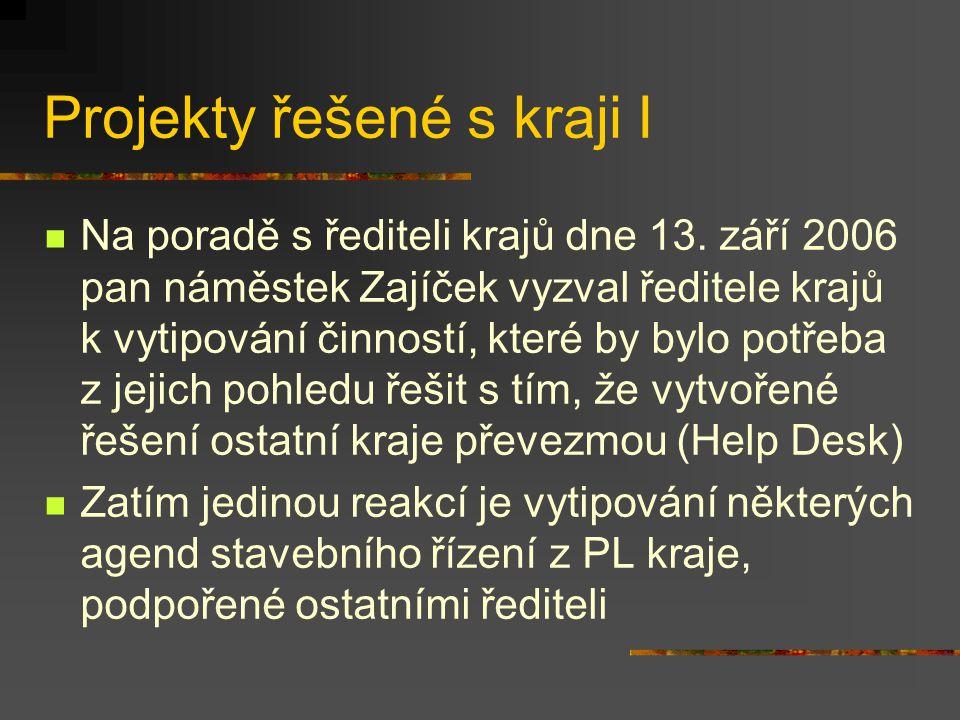 Projekty řešené s kraji I Na poradě s řediteli krajů dne 13.