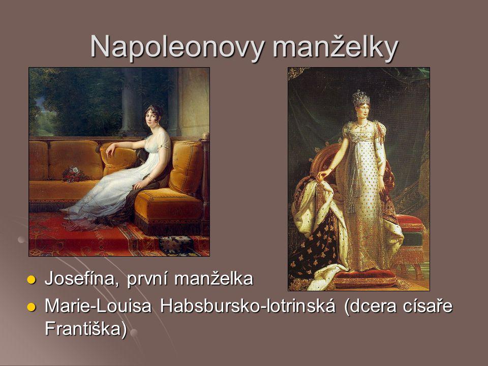 Napoleonovy manželky Josefína, první manželka Josefína, první manželka Marie-Louisa Habsbursko-lotrinská (dcera císaře Františka) Marie-Louisa Habsbur