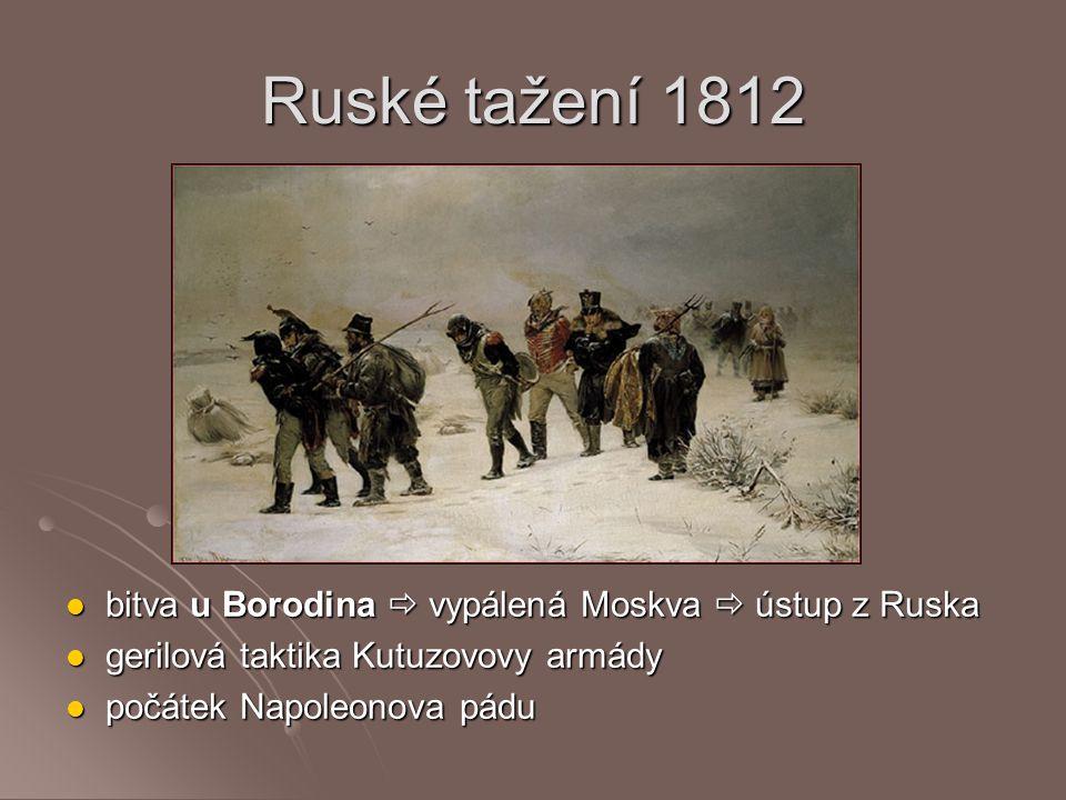 Ruské tažení 1812 bitva u Borodina  vypálená Moskva  ústup z Ruska bitva u Borodina  vypálená Moskva  ústup z Ruska gerilová taktika Kutuzovovy ar