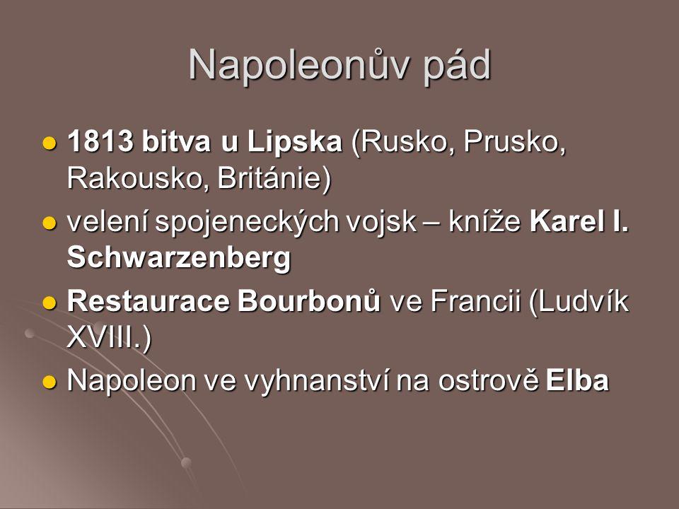 Napoleonův pád 1813 bitva u Lipska (Rusko, Prusko, Rakousko, Británie) 1813 bitva u Lipska (Rusko, Prusko, Rakousko, Británie) velení spojeneckých voj