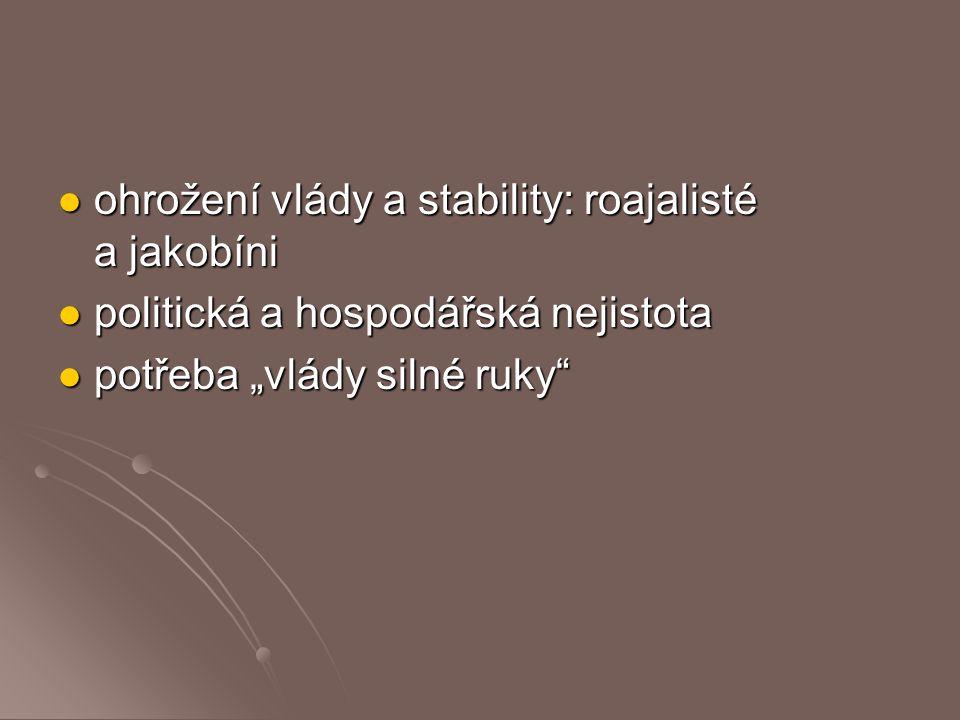 ohrožení vlády a stability: roajalisté a jakobíni ohrožení vlády a stability: roajalisté a jakobíni politická a hospodářská nejistota politická a hosp
