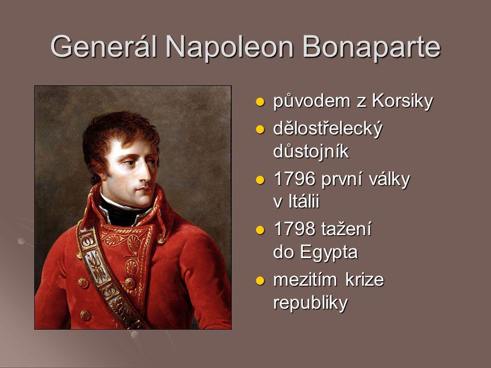 Generál Napoleon Bonaparte původem z Korsiky původem z Korsiky dělostřelecký důstojník dělostřelecký důstojník 1796 první války v Itálii 1796 první vá