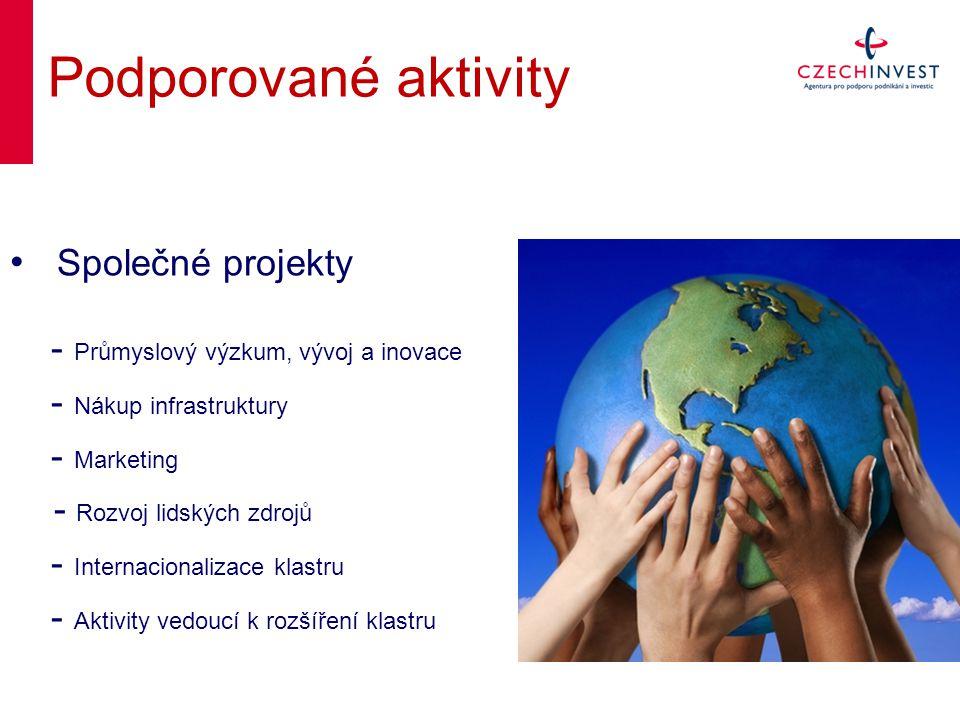 Podporované aktivity Společné projekty - Průmyslový výzkum, vývoj a inovace - Nákup infrastruktury - Marketing - Rozvoj lidských zdrojů - Internacionalizace klastru - Aktivity vedoucí k rozšíření klastru