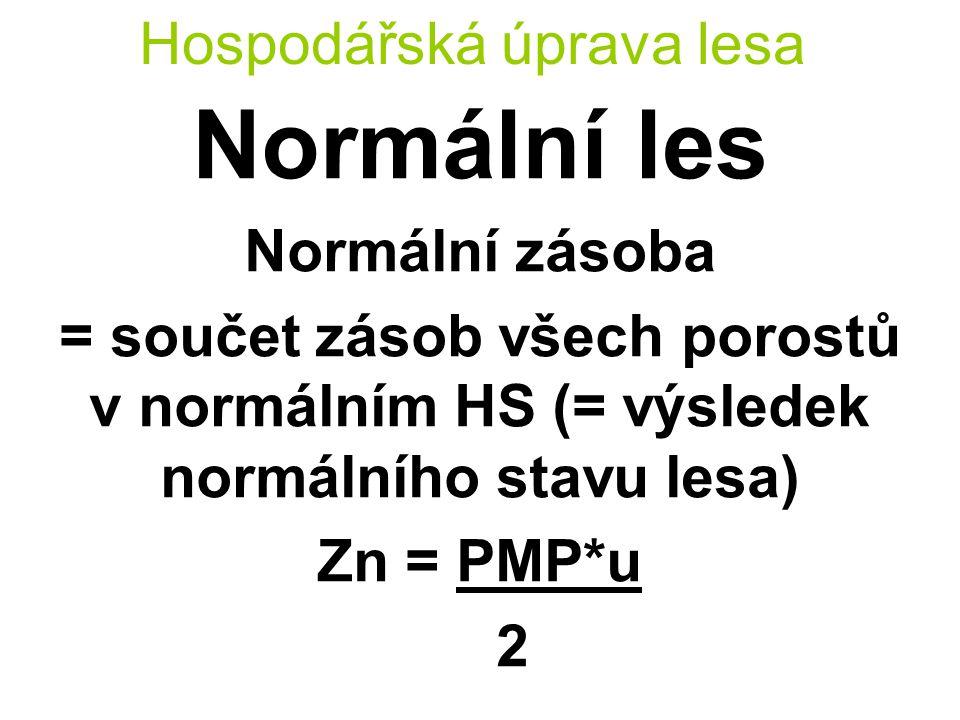 Hospodářská úprava lesa Normální les Normální zásoba = součet zásob všech porostů v normálním HS (= výsledek normálního stavu lesa) Zn = PMP*u 2