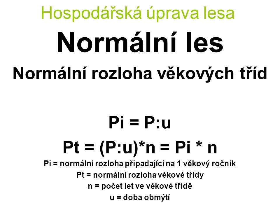 Hospodářská úprava lesa Normální les Normální rozloha věkových tříd Pi = P:u Pt = (P:u)*n = Pi * n Pi = normální rozloha připadající na 1 věkový ročník Pt = normální rozloha věkové třídy n = počet let ve věkové třídě u = doba obmýtí