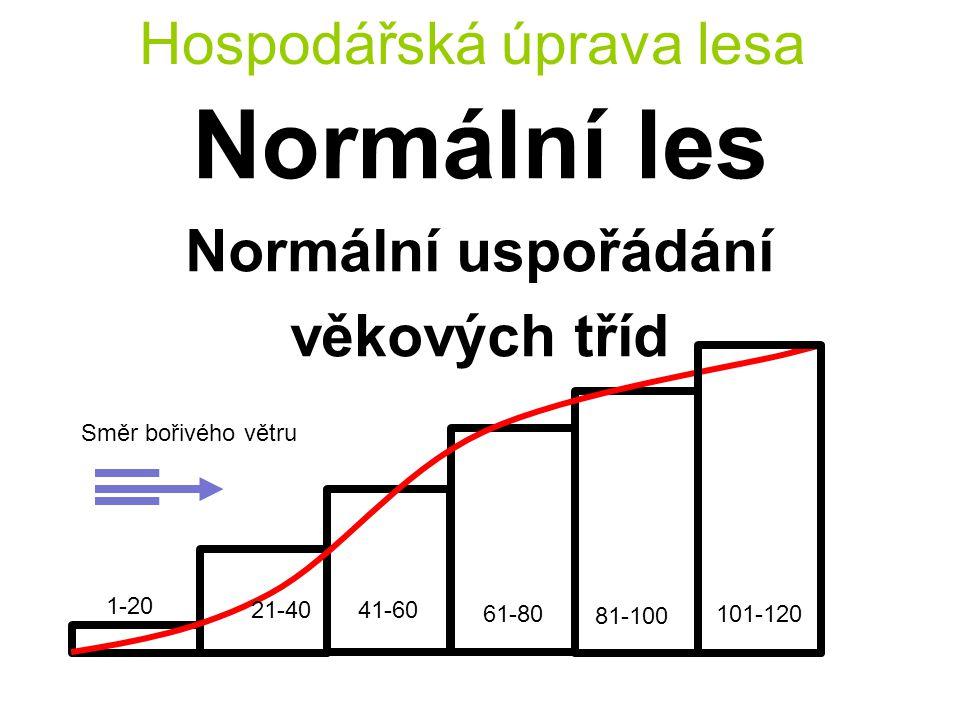 Hospodářská úprava lesa Normální les Normální uspořádání věkových tříd Směr bořivého větru 1-20 21-4041-60 61-80 81-100 101-120