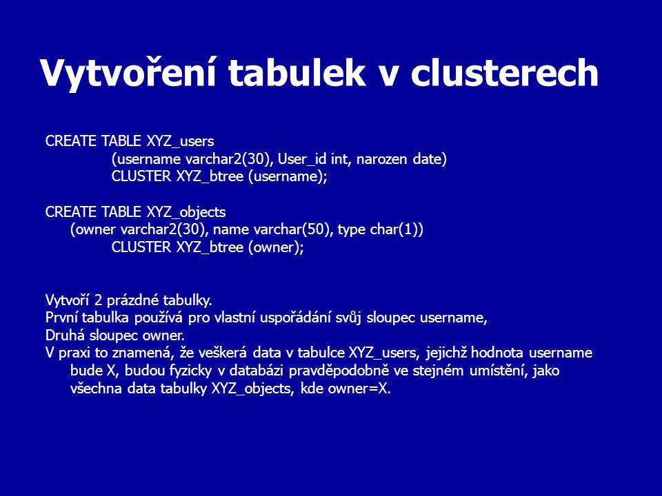 Vytvoření tabulek v clusterech CREATE TABLE XYZ_users (username varchar2(30), User_id int, narozen date) CLUSTER XYZ_btree (username); CREATE TABLE XY
