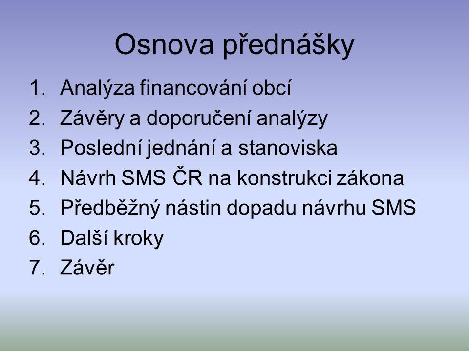 Osnova přednášky 1.Analýza financování obcí 2.Závěry a doporučení analýzy 3.Poslední jednání a stanoviska 4.Návrh SMS ČR na konstrukci zákona 5.Předběžný nástin dopadu návrhu SMS 6.Další kroky 7.Závěr