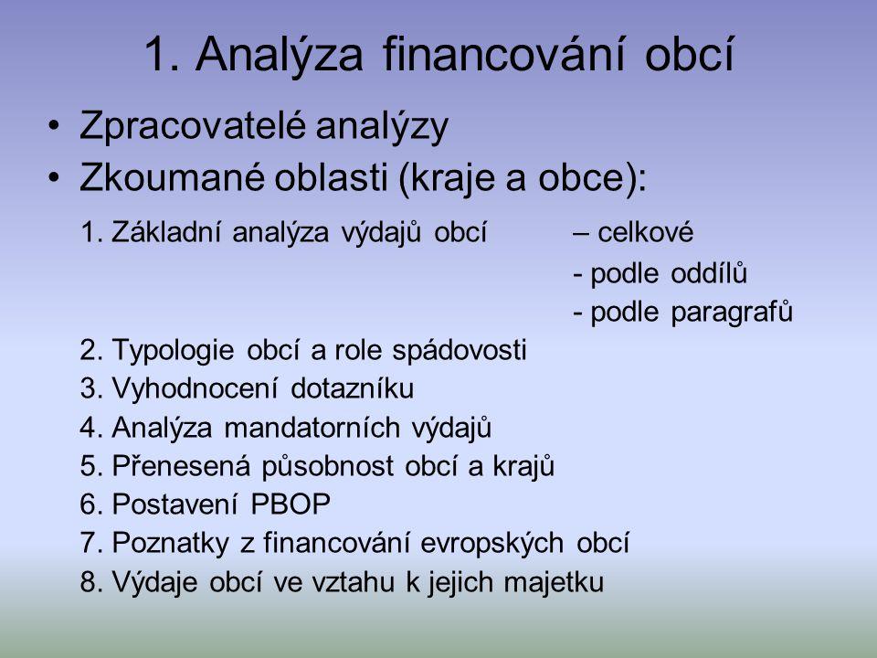 1. Analýza financování obcí Zpracovatelé analýzy Zkoumané oblasti (kraje a obce): 1.