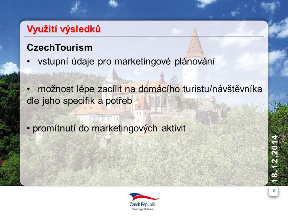 5 18.12.2014 CzechTourism vstupní údaje pro marketingové plánování možnost lépe zacílit na domácího turistu/návštěvníka dle jeho specifik a potřeb pro