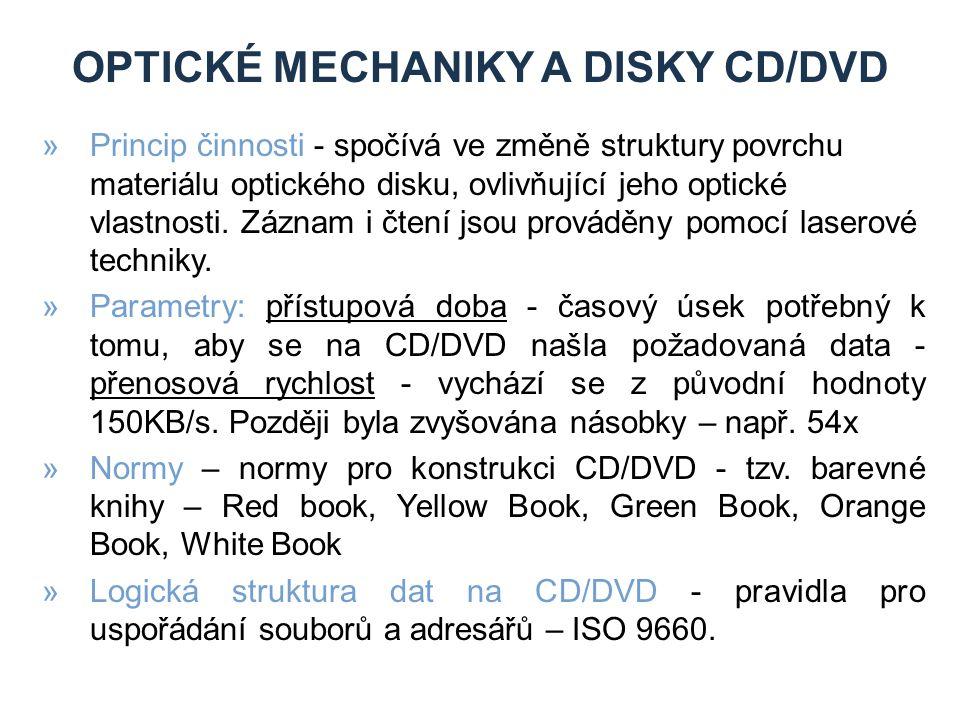 OPTICKÉ MECHANIKY A DISKY CD/DVD »Princip činnosti - spočívá ve změně struktury povrchu materiálu optického disku, ovlivňující jeho optické vlastnosti.
