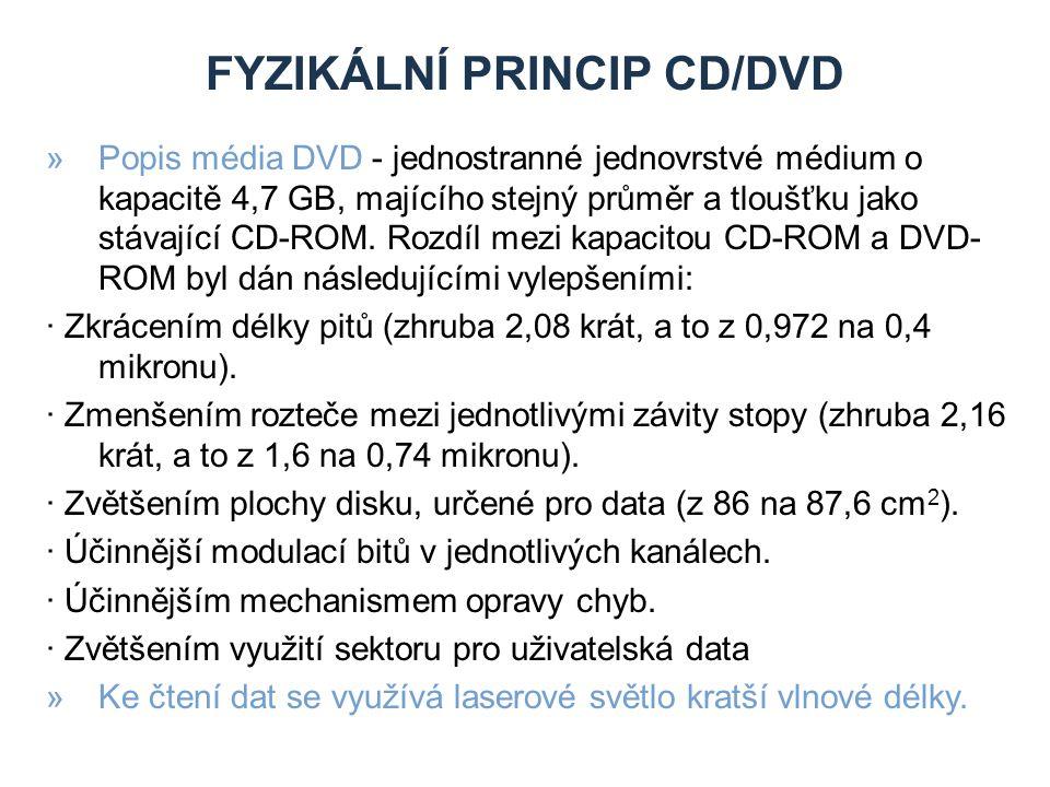 FYZIKÁLNÍ PRINCIP CD/DVD »Popis média DVD - jednostranné jednovrstvé médium o kapacitě 4,7 GB, majícího stejný průměr a tloušťku jako stávající CD-ROM.