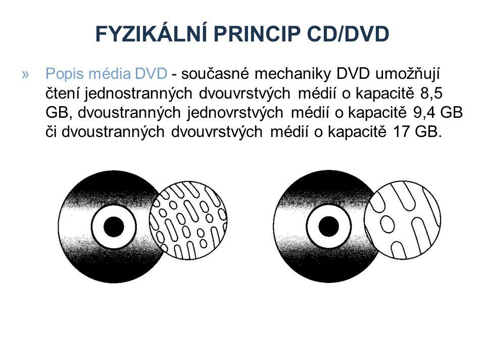 FYZIKÁLNÍ PRINCIP CD/DVD »Popis média DVD - s oučasné mechaniky DVD umožňují čtení jednostranných dvouvrstvých médií o kapacitě 8,5 GB, dvoustranných jednovrstvých médií o kapacitě 9,4 GB či dvoustranných dvouvrstvých médií o kapacitě 17 GB.