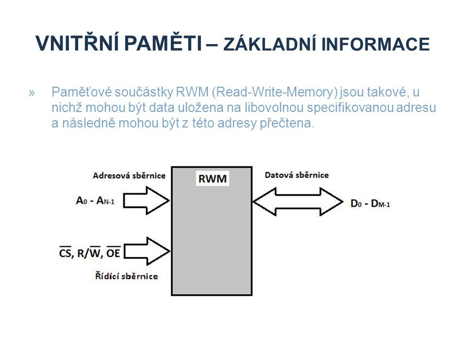 VNITŘNÍ PAMĚTI – ZÁKLADNÍ INFORMACE »Paměťové součástky RWM (Read-Write-Memory) jsou takové, u nichž mohou být data uložena na libovolnou specifikovanou adresu a následně mohou být z této adresy přečtena.