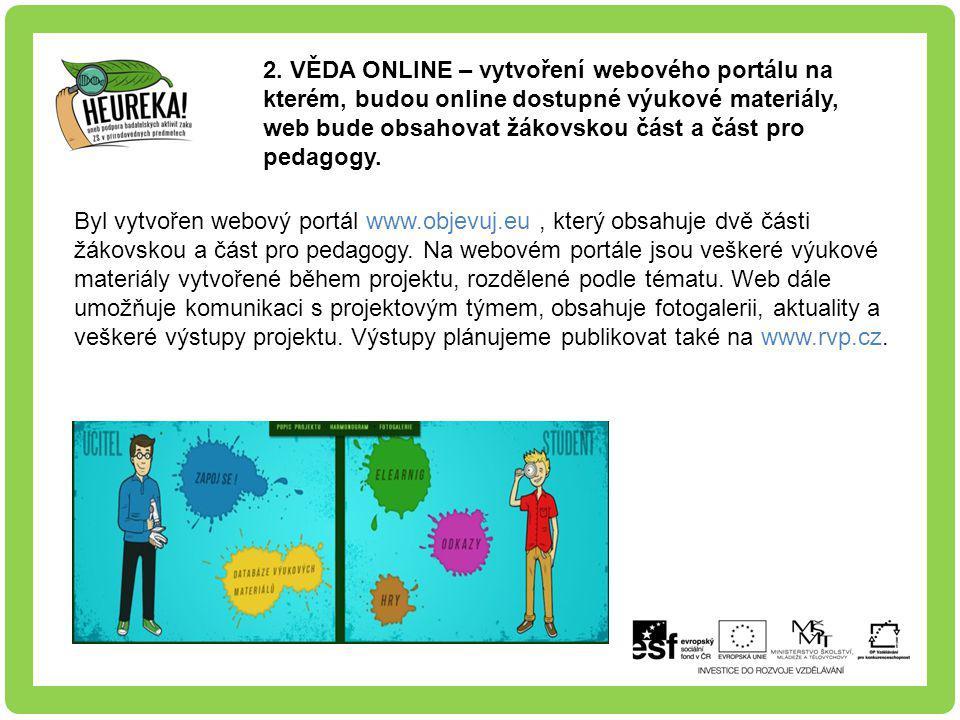 2. VĚDA ONLINE – vytvoření webového portálu na kterém, budou online dostupné výukové materiály, web bude obsahovat žákovskou část a část pro pedagogy.