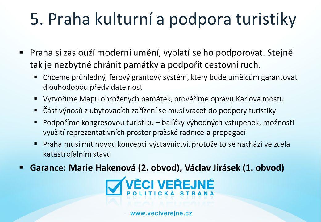 5. Praha kulturní a podpora turistiky  Praha si zaslouží moderní umění, vyplatí se ho podporovat.