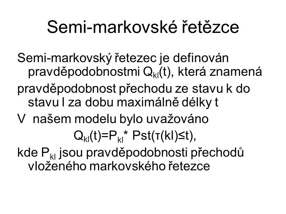 Semi-markovské řetězce Semi-markovský řetezec je definován pravděpodobnostmi Q kl (t), která znamená pravděpodobnost přechodu ze stavu k do stavu l za dobu maximálně délky t V našem modelu bylo uvažováno Q kl (t)=P kl * Pst(τ(kl)≤t), kde P kl jsou pravděpodobnosti přechodů vloženého markovského řetezce