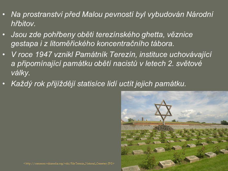 Na prostranství před Malou pevností byl vybudován Národní hřbitov. Jsou zde pohřbeny oběti terezínského ghetta, věznice gestapa i z litoměřického konc