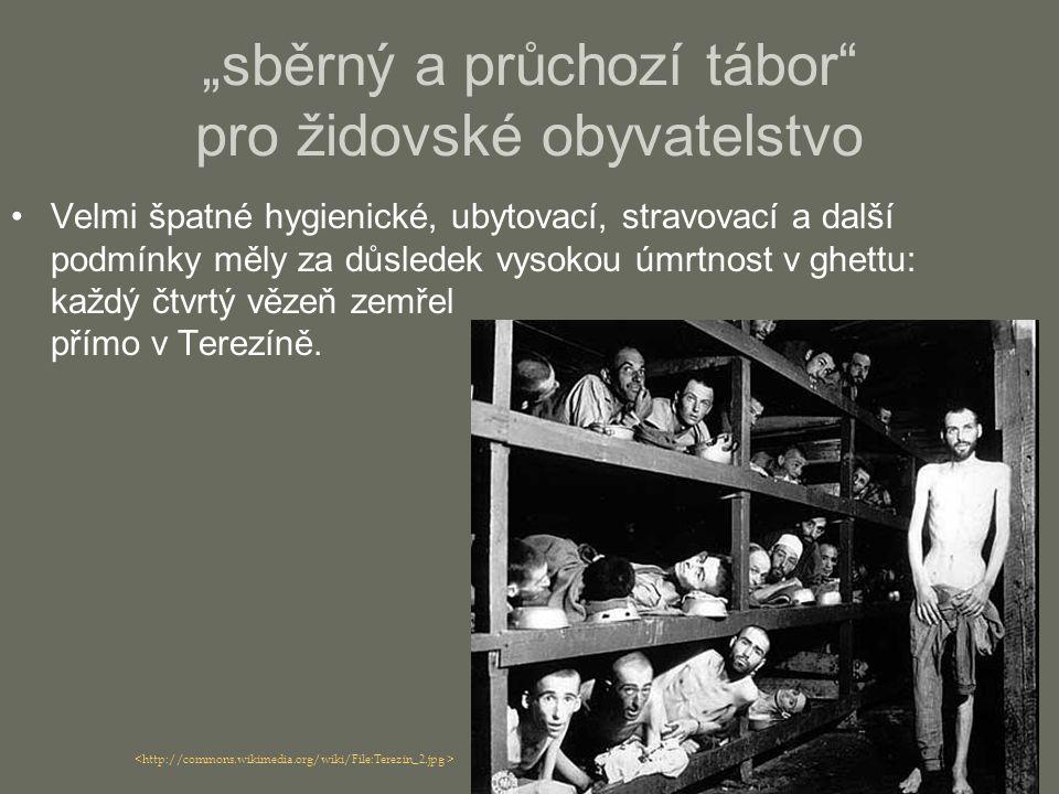 Velmi špatné hygienické, ubytovací, stravovací a další podmínky měly za důsledek vysokou úmrtnost v ghettu: každý čtvrtý vězeň zemřel přímo v Terezíně