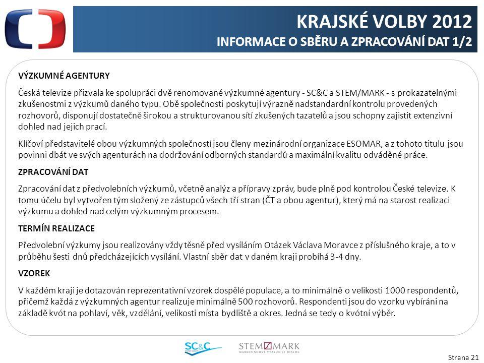 Strana 21 VÝZKUMNÉ AGENTURY Česká televize přizvala ke spolupráci dvě renomované výzkumné agentury - SC&C a STEM/MARK - s prokazatelnými zkušenostmi z